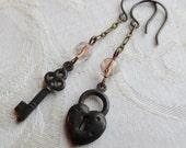 50% Off Steampunk Assymetrical Earrings- Key to My Heart- Czech Glass Beads