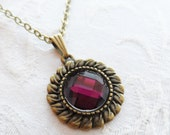 75% Off Sale Amethyst Purple Faceted Glass Necklace