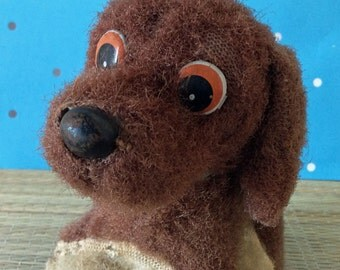 Vintage made in Japan wind up brown dog