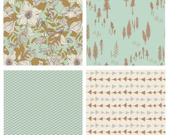 BUNDLE - Hello, Bear, Cultivate, Fantasia - Art Gallery Fabrics - Bonnie Christine - Woodland Quilting Fabric - Arrows Flowers Mint Tan