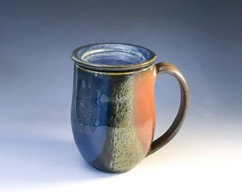 Lidded Coffee Mug in Denim Blue & Rust Red - Ceramic Mug with Cover - Handmade Pottery Mug