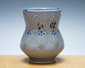 Yunomi w. Skulls in Periwinkle w. Navy Polka dots & detail, Handmade ceramic cup, Victorian modern