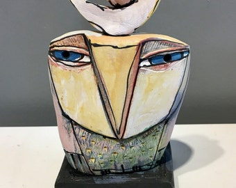 """Owl art, handmade one of a kind ceramic owl art,""""Owl Person and the Blue Bird.  Love is All, 5-1/4"""" tall"""