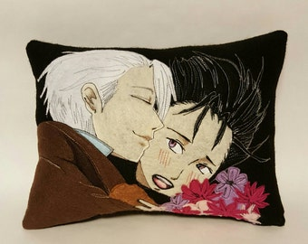 OOAK YURI on ICE felt craft Pillow Victor Nikiforov Yuri Katsuki