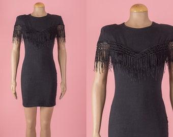Vintage Black Fringed Jersey Knit Mini Dress (Size Small)