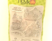 Newton's Nook Designs Stamp Set, Newton's Summer Vacation, Clear Stamp Set, Enjoy Your Day, Cat Under Umbrella, Cat in Tube, Sand Castle