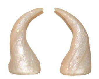 Iridescent Ivory Horns Polymer Clay Festival, Halloween, Fairy