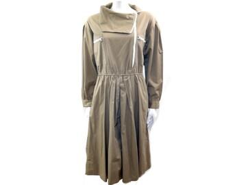 Vintage Sunshine Alley Khaki Midi Boho Dress// Modern Chic Dress// Size 12// 137