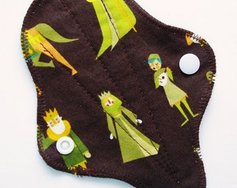 "6"" Cotton Thong Panty Liner, Medieval Villagers Brown Green, Cloth Menstrual Pad, Cloth Panty Liner Reusable San Pro, Menstrual Cup Backup"