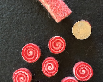 6  CANDY CANE Quarter Size - Red & White Sushi Beads - wet felted wool