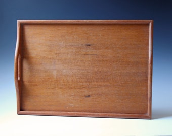 Modern teak serving tray with handles