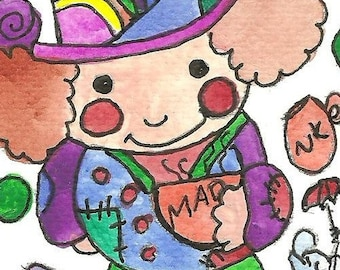 Mad Hatter ACEO Original Painting Alice in Wonderland Art Mad Hatter ACEO Illustration Watercolor Drawing Mad as a Hatter