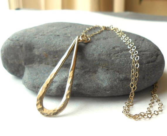 Simple Gold Necklace, Drop Necklace, Hammered Gold Filled Teardrop Pendant