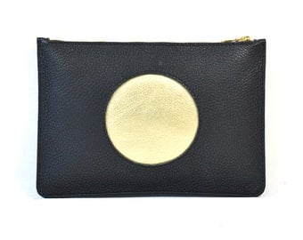Coralie - Handmade Black Gold Cut Out Leather Clutch Bag Zip Pouch Purse SS17