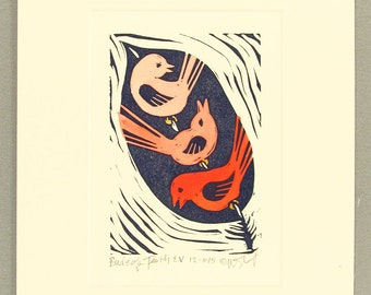 Birds of a Feather,  hand painted linoleum block print
