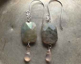 Before the Dawn, Labradorite Pink Chalcedony Gemstone Sterling Silver Earrings