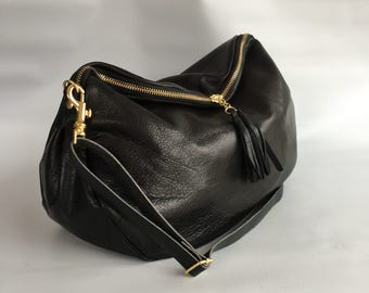 Large Alberta leather bag in black -NEW SIZE