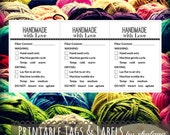 "Care Instruction Printable PDF Cards  - ""HANDMADE with Love"" Labels or Tags for your Handmade Fiber Crafts Product - Great for Craft Shows"