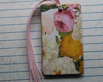 15 Roses & Floral gift tags pinks, yellow, cream patterned paper over chipboard