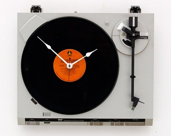 Turntable Clock, recycled Record player clock, music lover clock, Art Clock, record album clock, upcycled large wall clock, timepiecee