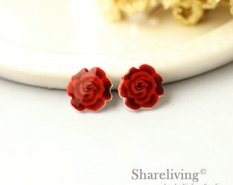 4pcs (2 pairs) Mini Red Rose Resin Charm / Pendant,  Stud Earring, Laser Cut Tiny Rose Perfect for Earring / Rings - YED007R