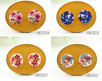 Buy 1 Get 1 Free - Wooden Vintage Floral Cabochon Button, 12mm 15mm 20mm  Round Handmade Photo Wood Cut Retro Flower Cabs