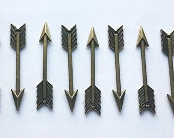 Antique Brass Arrow Charm, Long Arrow Boho Style Pendant Supply, Pack of 10