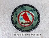 Ceramic Winter Carndinal Christmas Mini Bowl Hand Painted by Sharon Bloom Designs