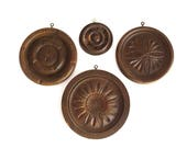Carved Wood Rosettes, Architectural Salvage, Plaster Mold, Rustic Decor, Vintage Wall Hanging, Antique Treen Circle, Assemblage Supplies