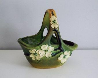 Roseville Dogwood Basket, 1920s American Art Pottery, Green Basket Vase, Antique Fine Art Ceramics, Cottage Chic Decor, Spring Easter Basket