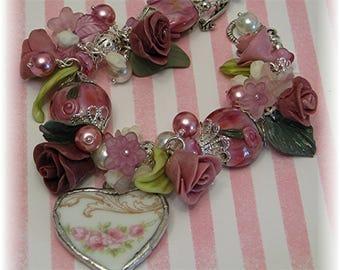 Broken China Bracelet - Bridal Jewelry - Bridal Bracelet - Charm Bracelet - Handmade Bracelet  - Lampwork Bracelet