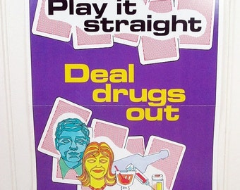 ON SALE Vintage Work Safety Poster Ohio Deal Drugs Out Anti-Drug Retro 1980s
