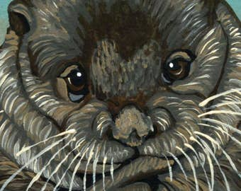 ACEO ATC Otter Wildlife  Original Painting Art-Carla Smale
