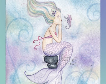 Forget Me Not Mermaid Print from Original Watercolor Painting by Camille Grimshaw