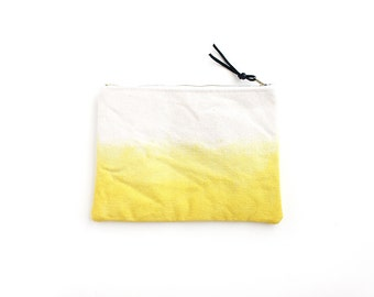 Bright yellow dipdyed pouch with zipper II