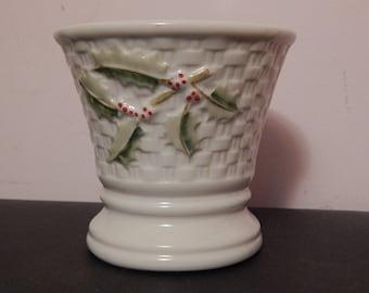 Vintage BELLEEK  Holly Berry Basket Weave Candle Holder