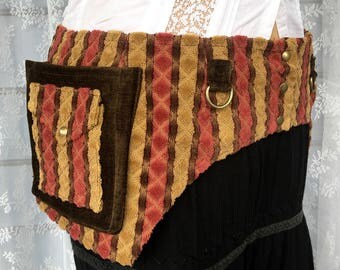 USA made fabric pocket belt - Burning desert Man festival utility belt - yellow pink brown festival belt - vegan pocket belt - Large