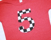 Boys 5th Birthday Shirt, Number 5 Shirt, Black White Large Racing Check - Short sleeve heather red - race car birthday