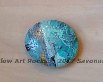 Flow Art Rock,rock art, painted rocks, paperweight, gold, turquoise, blue, home decor, meditation art, yoga gift, worry stone,zen art