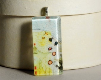 Vintage Wings Glass Tile Pendant #2 - Butterfly Wings - Moth Wings