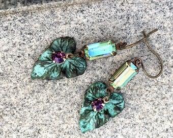 Verdigris Garden Earrings-oxidized brass leaves-vintage gems-brass earrings-a secret garden-grapevine