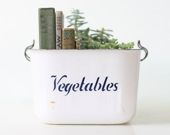 Vintage Vegetable Bin, Enamel Vegetable Container Drawer