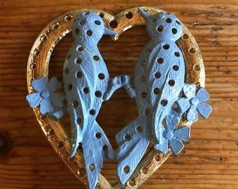 vintage post earring holder blue lovebirds