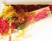 Mama's Work Basket...Lot of Vintage Wash Silk Embroidery Floss Remnants
