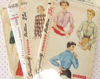 Vintage Style...Lot of 4 Old 1950s Women's Clothing Patterns