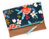 Boho Tassel Clutch in Rifle Paper Company Floral Print and Tan Vegan Leather and Gold zipper close