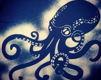 Octopus T shirt Moon Shadow Bleach Dyed Shirt size XL Unisex
