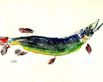 GYOTAKU fish Rubbing Colorful Pike 8.5 X 11 quality Art Print Cottage Decor by artist Barry Singer