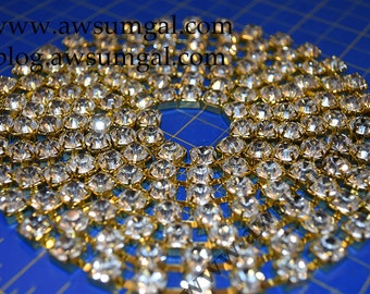 Bling! 80 inches ( 6.6 ft,  2 meters) Clear Rhinestone Gold Tone Chain SS18 4mm Stones