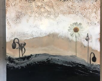 original encaustic mixed media painting-On Daisy